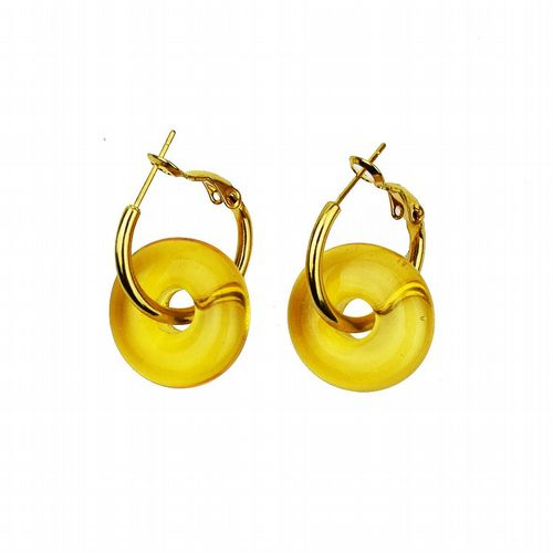 Murano Glass Earrings - Yellow & Gold